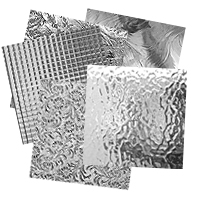 Clear textured glass samples, assortments and custom cut to size