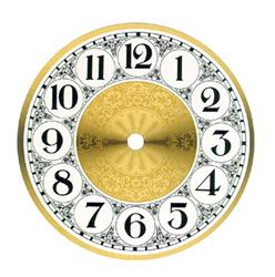 "6"" Clock Dial, Arabic Numerals, Fancy White & Brass Colored Spun Aluminum"