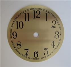 "4-1/2"" Clock Dial, Arabic Numerals, Brass Colored Spun Aluminum"