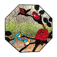 Carolyn Kyle Stained Glass Pattern - Bird with Roses (CKE-9)