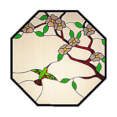 Carolyn Kyle Stained Glass Pattern - Dogwood & Hummingbird (CKE-10)