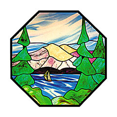 Carolyn Kyle Stained Glass Pattern - Lake Scene (CKE-11)
