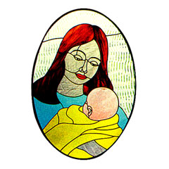 Carolyn Kyle Stained Glass Pattern - Mother & Child (CKE-49)