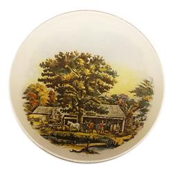 Currier & Ives Glass Autumn Scene Medallion