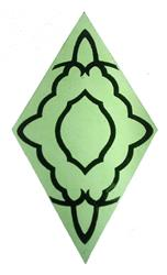 "Green 3-3/4"" x 6-7/8"" Stenciled Glass Square"