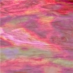 Stained Glass Sheet Spectrum 609.8 Irid 8 x 6  Pink and White Wispy Iridized