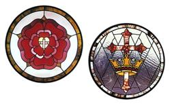 Carolyn Kyle Stained Glass Pattern - Cross and Crown; Cross, Heart and Rose (CKE-184)